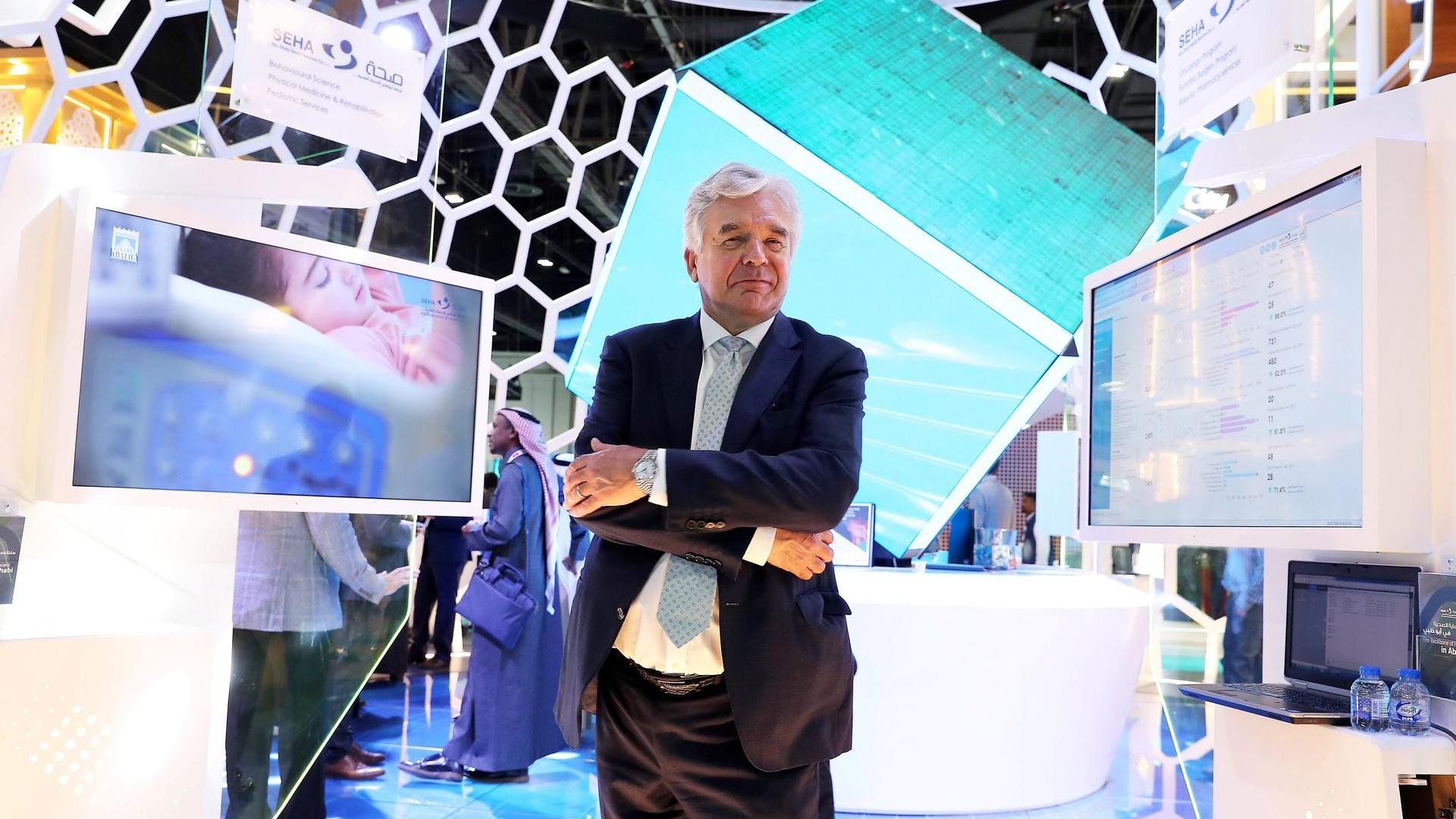 Dr Gareth Goodier, CEO of SEHA, at the Arab Health conference held at Dubai World Trade Centre in Dubai. Pawan Singh / The National